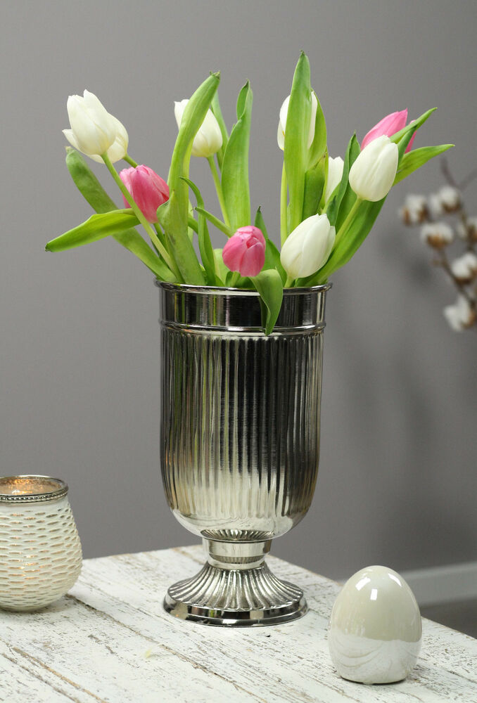 vase silber alu blumenvase tischvase bodenvase deko shabby tischdeko ebay. Black Bedroom Furniture Sets. Home Design Ideas