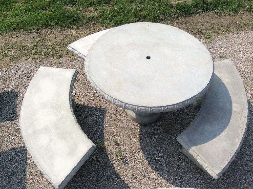 4 Round Concrete Table Set Outdoor Furniture Patio