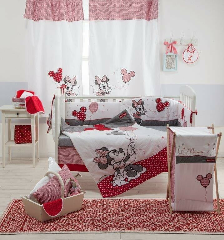 Brand New Disney 4 Piece Red Minnie Mouse Crib Bedding Cot Set Ebay