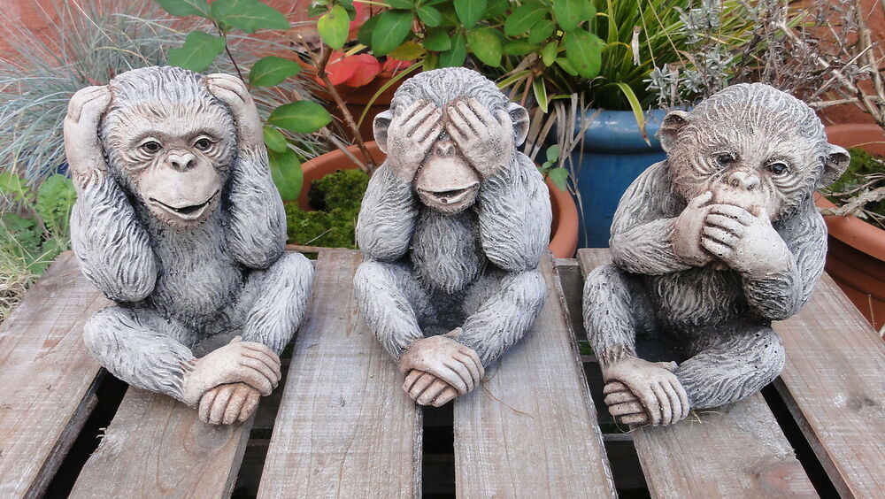 3 wise monkeys garden ornaments