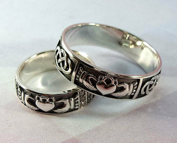 925 sterling silver wedding bands set claddagh irish. Black Bedroom Furniture Sets. Home Design Ideas