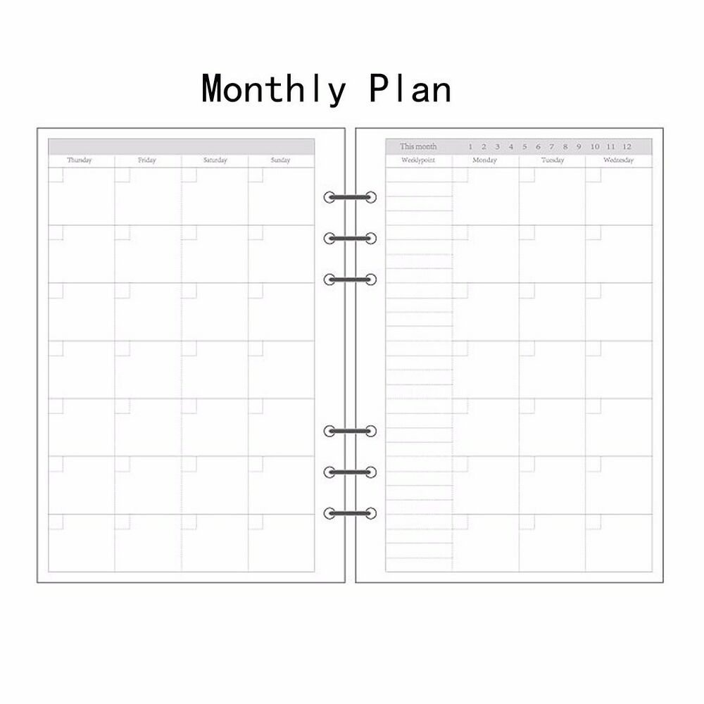 A5/A6/A7 Monthly Planner Diary Insert Refill Schedule