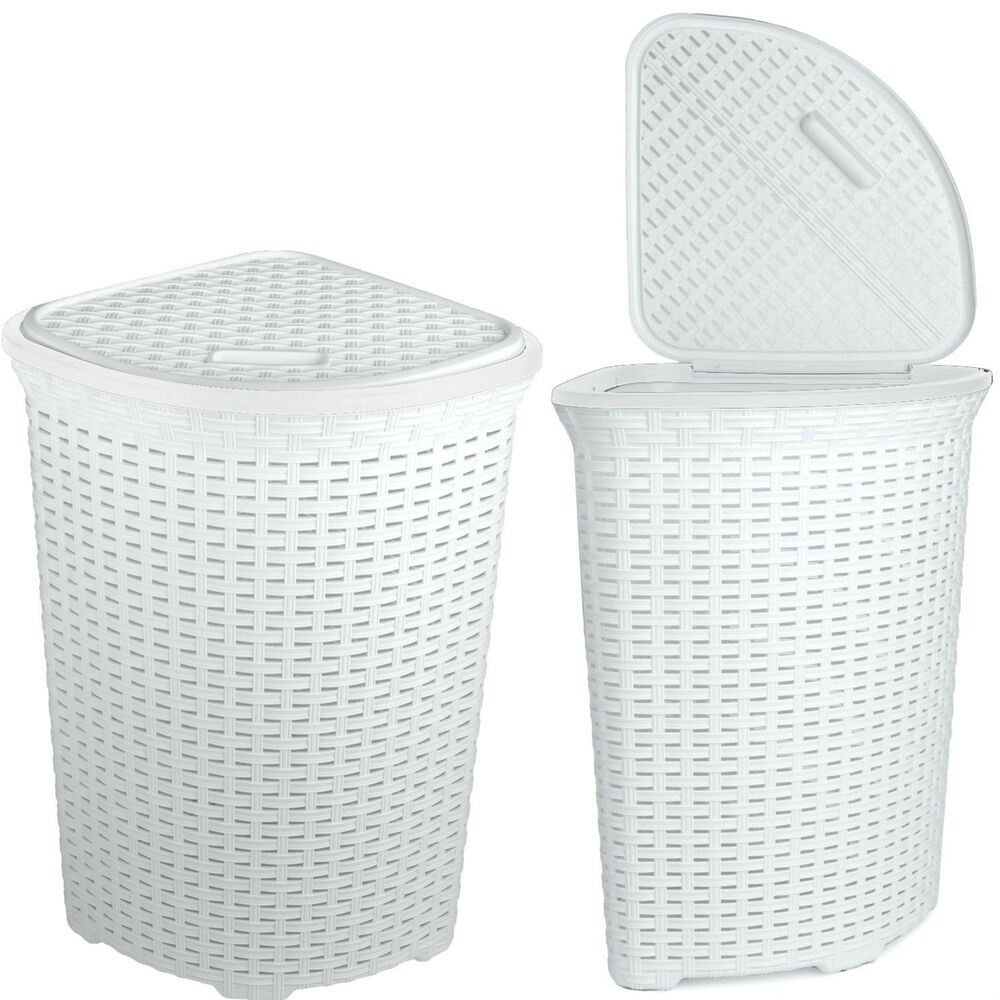 Large Woven Plastic Corner Laundry Bin Washing Multi