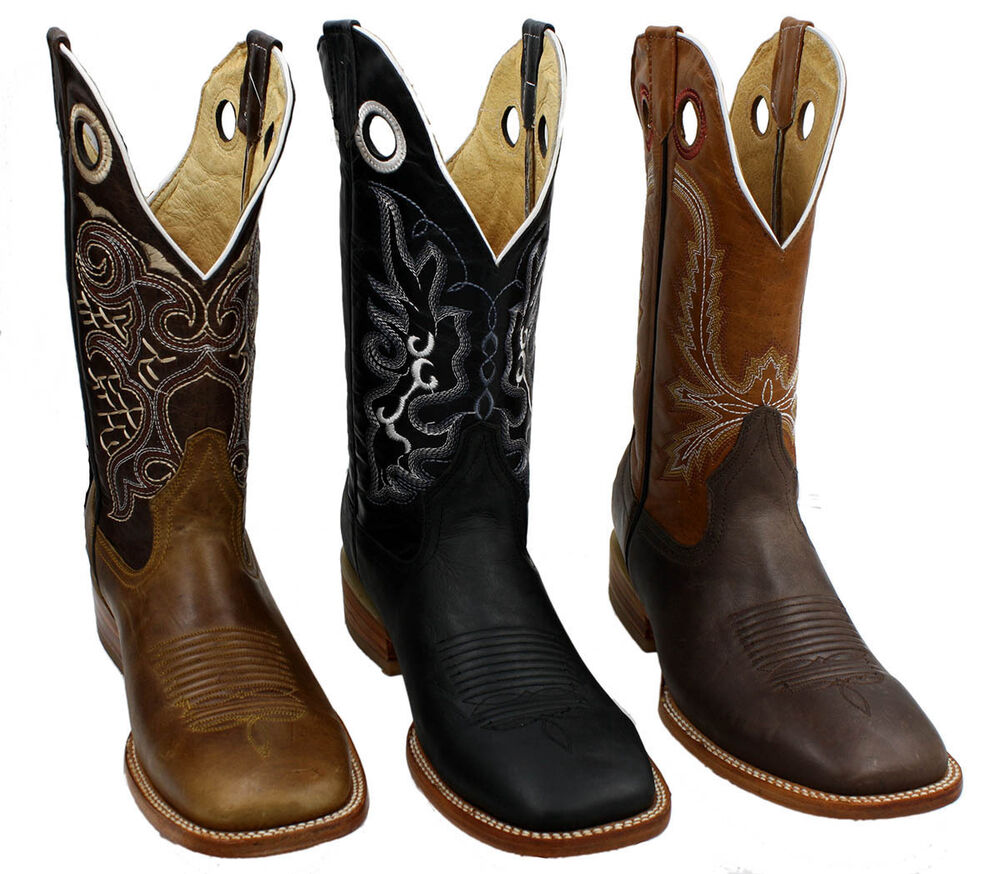 cowboy boots genuine cowhide leather bulldog square