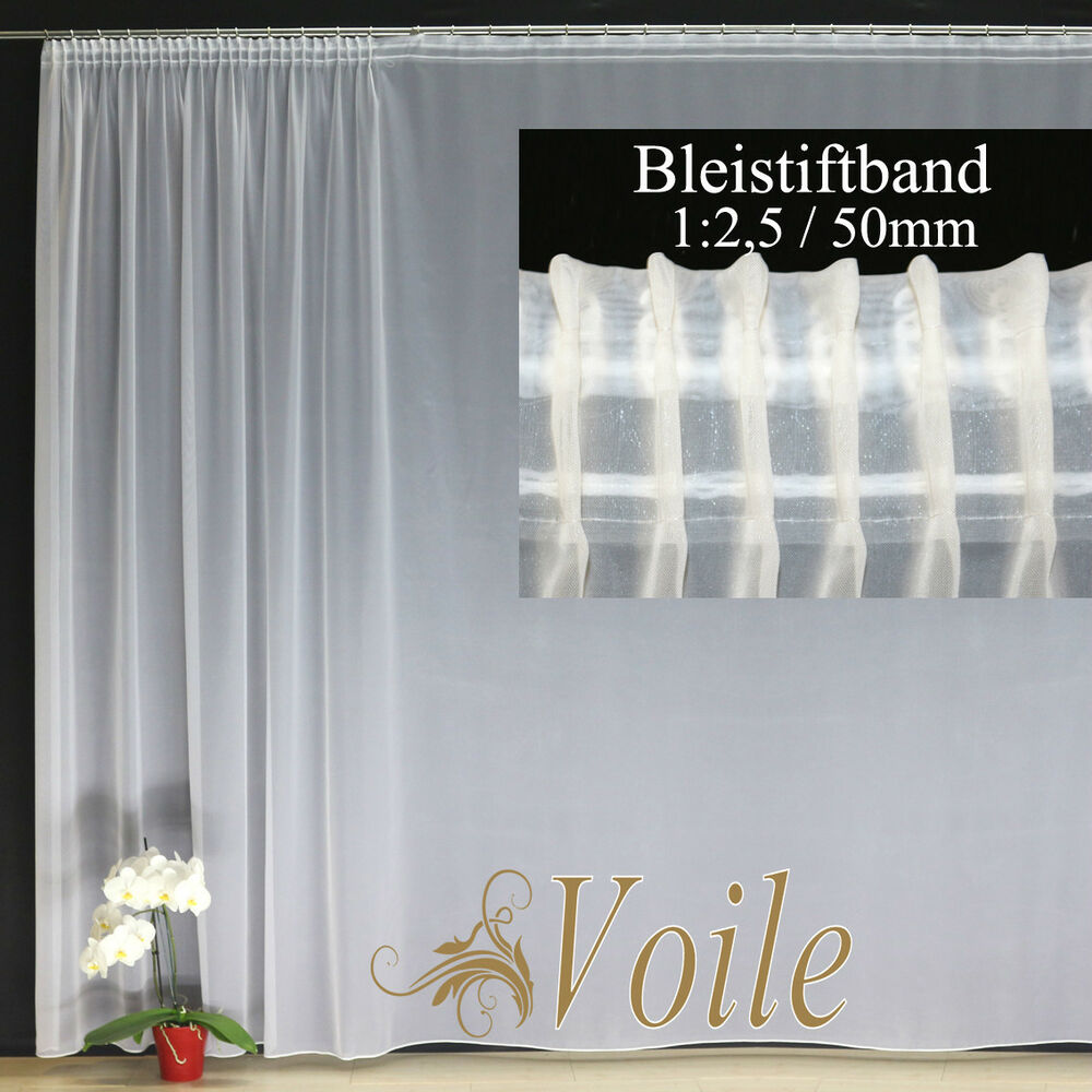 hochwertige fertiggardine voile store wei faltenband bleistiftband 1 2 5 50mm ebay. Black Bedroom Furniture Sets. Home Design Ideas