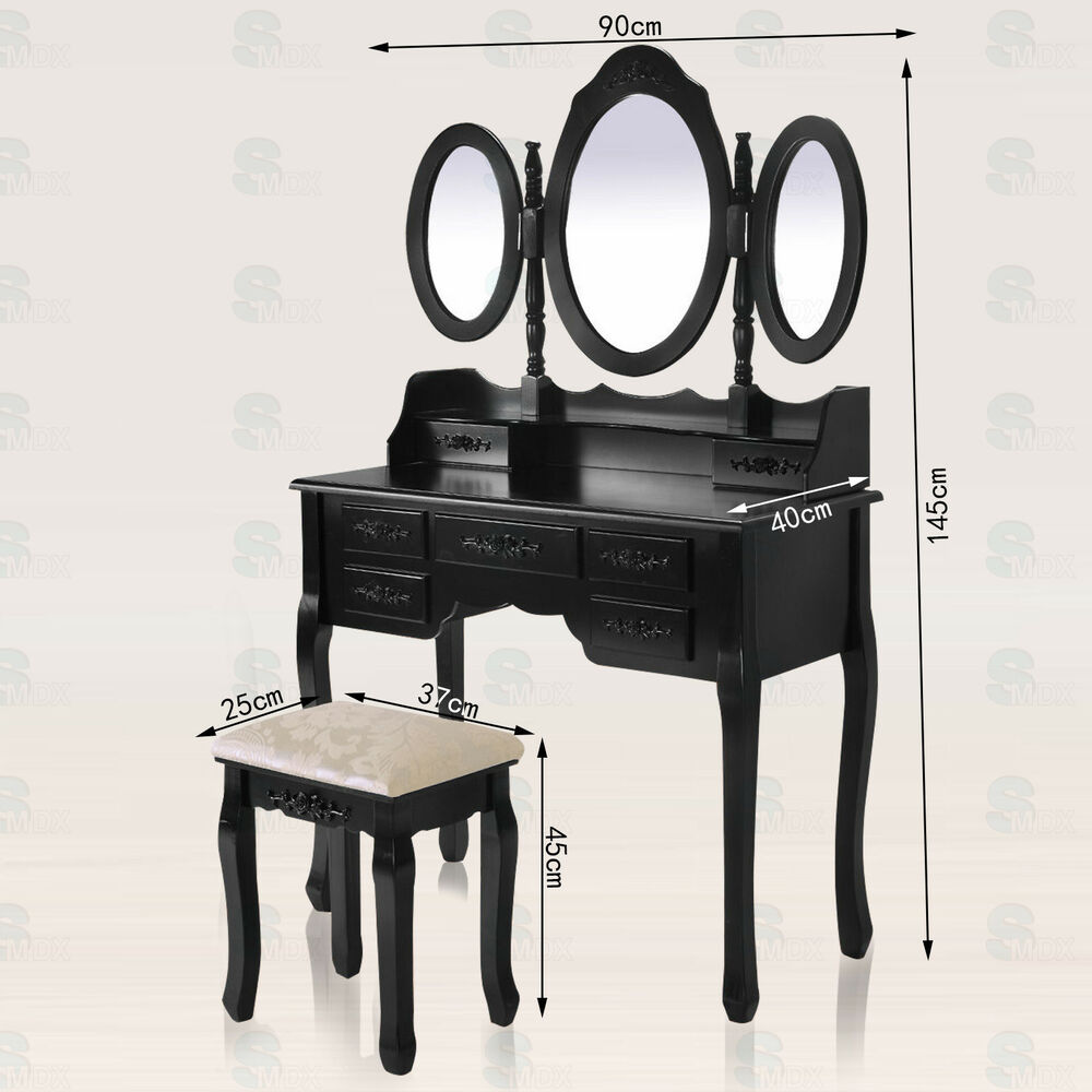 Shabby chic dressing table vanity makeup dresser set 7 for Vanity table with drawers no mirror