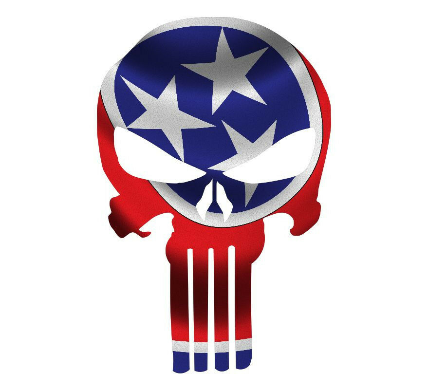 Punisher Decal State of Tennessee Flag Vinyl