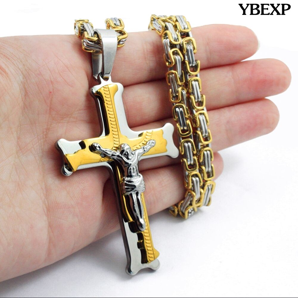 Men stainless steel gold silver black jesus cross pendant for Black and blue jewelry cross necklace