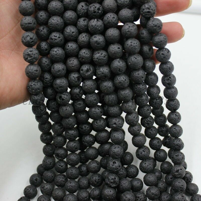 1Strand Natural Stone Beads Black Lava Rock Round Jewelry