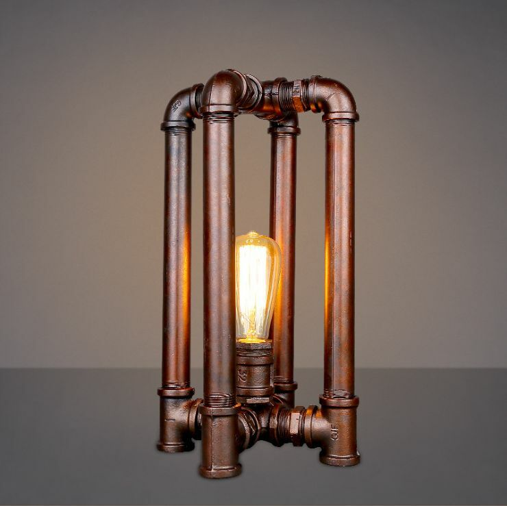 industrial antique iron pipe light quadrupod table desk lamp ebay