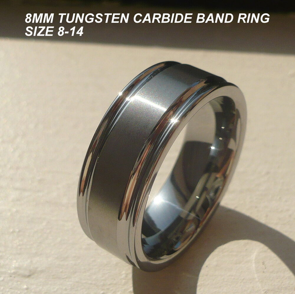 8mm mens tungsten carbide comfort fit wedding engagement