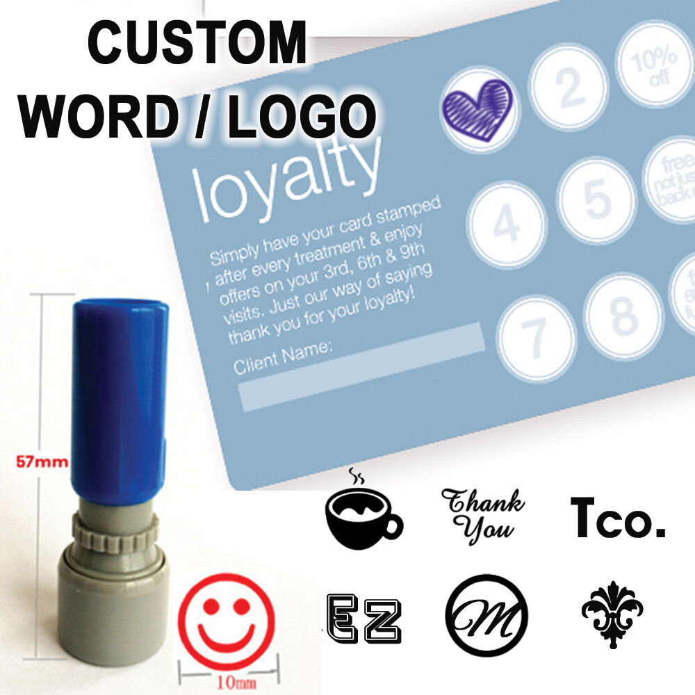 Custom Logo Loyalty card Self inking Stamp for business ...