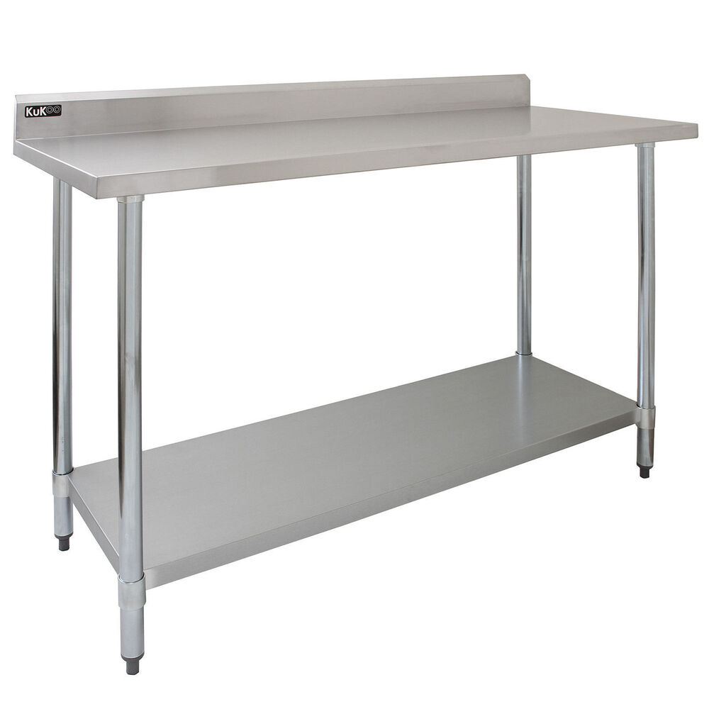 Commercial table 5ft stainless steel kitchen prep work bench catering surface ebay - Bench tables for kitchen ...