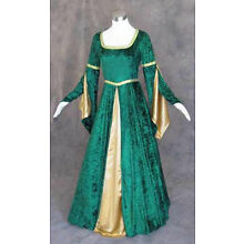 Green Velvet Medieval Renaissance Cosplay Wench Pirate LARP Dress Costume Gown