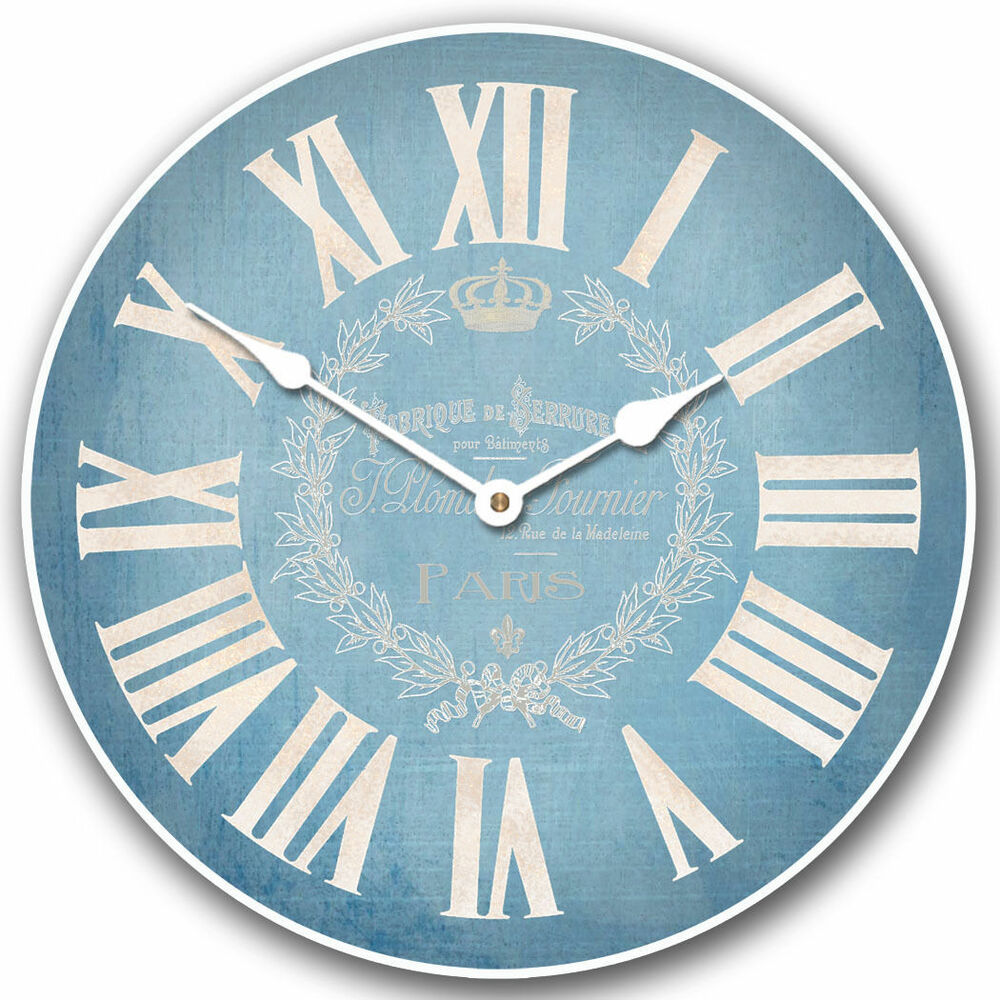 large wall clock linen blue clock 10 48 whisper quiet non ticking ebay. Black Bedroom Furniture Sets. Home Design Ideas