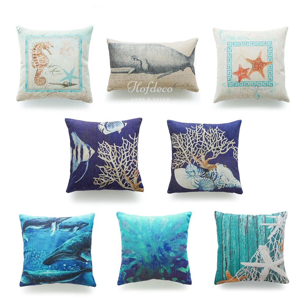 Nautical Coastal Throw Pillows : Decorative Throw Pillow Case Ocean Coastal Beach Nautical Lumbar Cushion Cover eBay