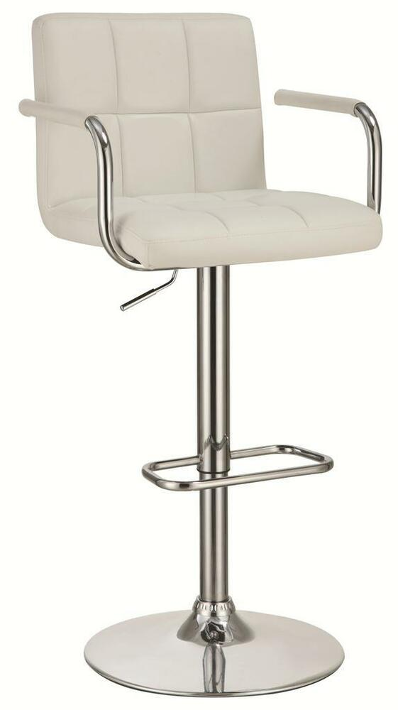 White And Chrome Adjustable Bar Stool Chair With Foot Rest