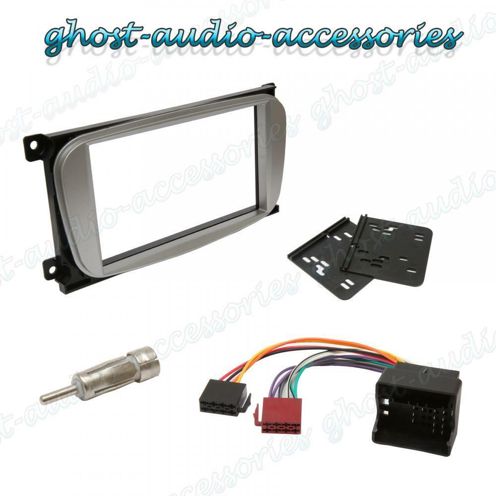 Double Din Oval Silver Facia Fascia For Ford Car Radio Cd Stereo Fiesta Fitting Kit Panel Wiring Harness Aerial