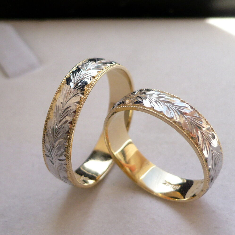 14k solid gold his her two tone wedding band ring set 5 for Gold engagement and wedding rings