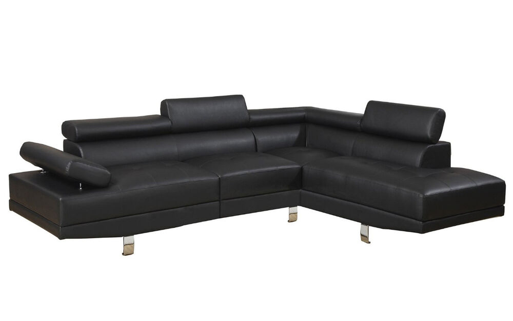 2 piece modern contemporary black faux leather sectional for Elena leather 2 piece sectional sofa