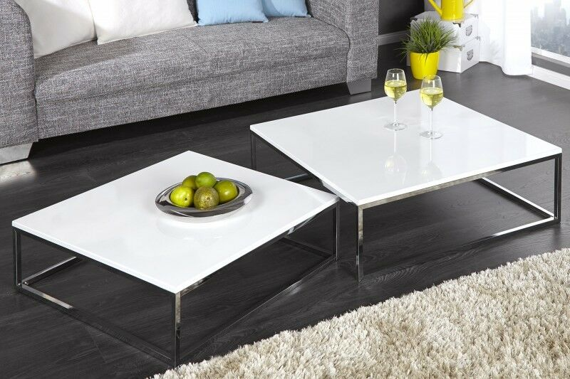 couchtisch beistelltisch 2er set stage weiss hochglanz chrom design tisch set ebay. Black Bedroom Furniture Sets. Home Design Ideas