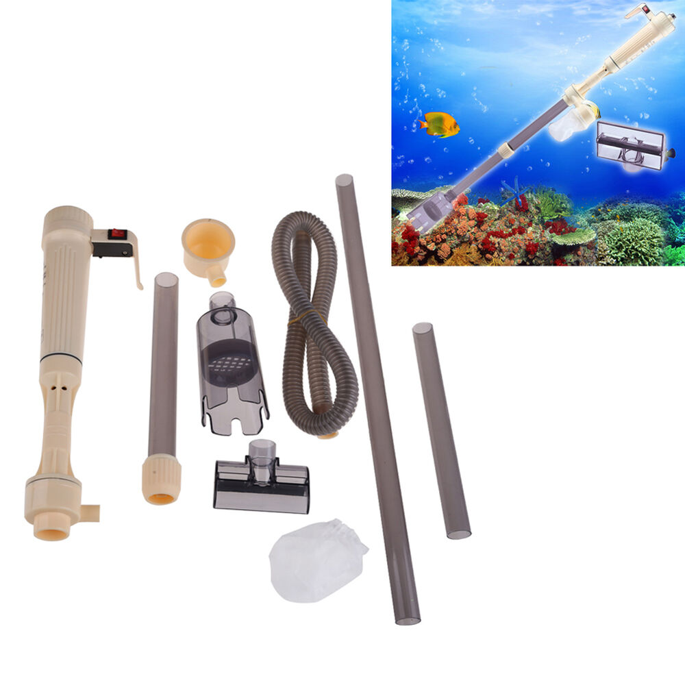 Gravel Cleaner Aquarium Fish Tank Siphon Vacuum Water Change Powered By Battery | eBay