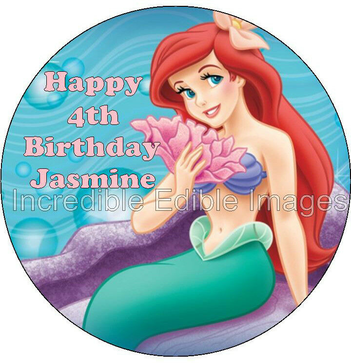 The Little Mermaid Personalised Edible Cake Topper Party ...