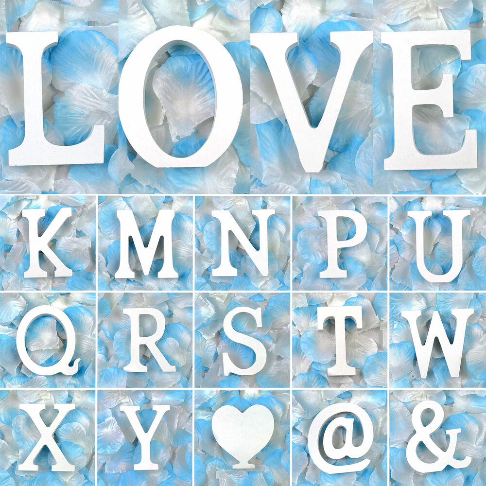 Alphabet wooden letters white wood words wedding birthday for Alphabet decoration