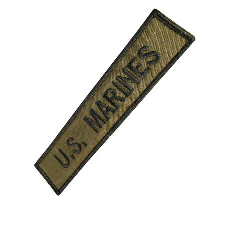 img-US Marines USMC name tape embroidered Olive Drab green tag hook patch