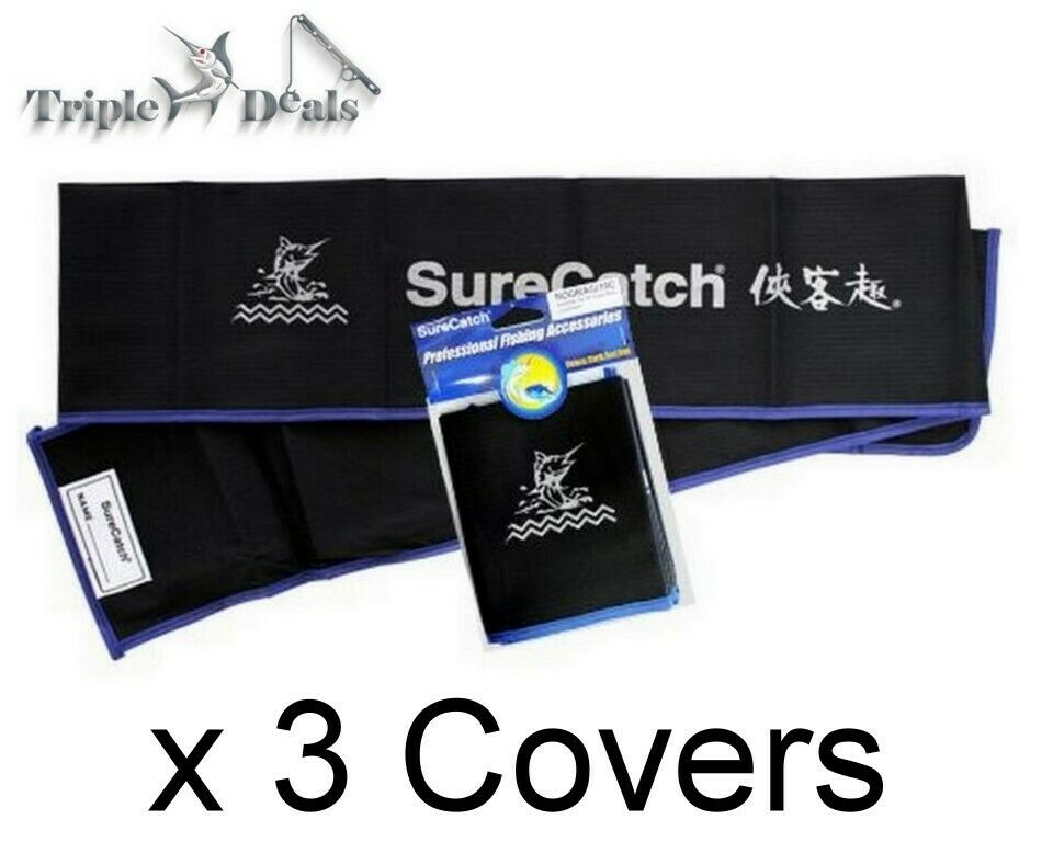 3 X Surecatch Deluxe Cloth Fishing Rod Covers Rod Bag