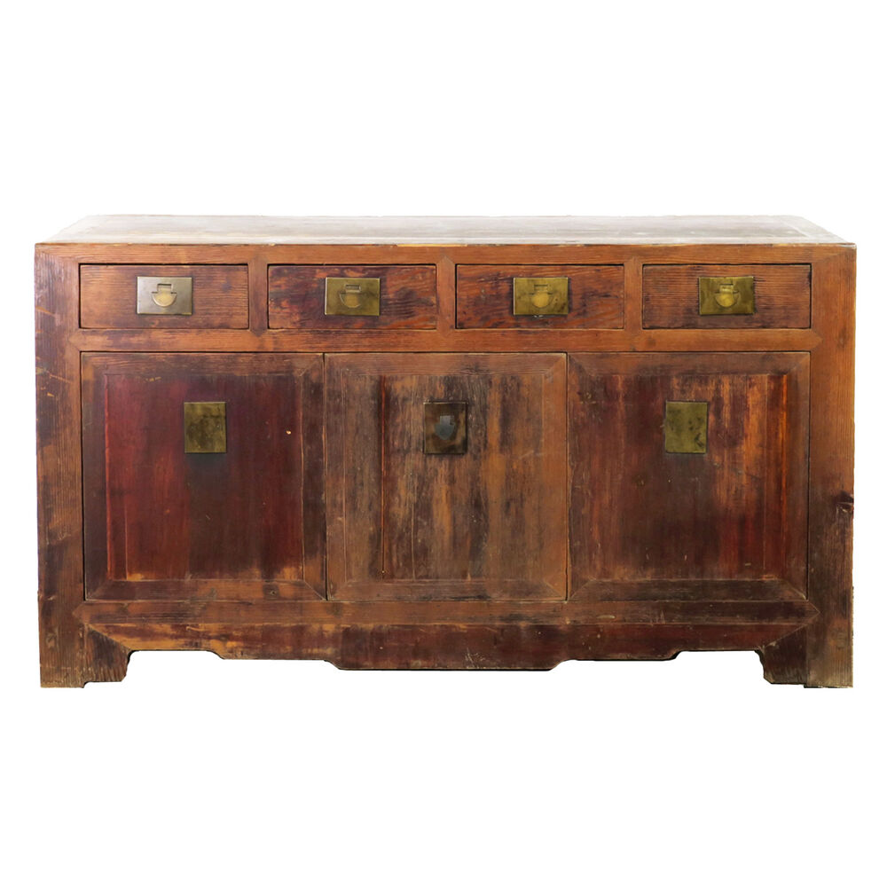 "Antique Chinese Asian 62"" Long Buffet Sideboard Credenza Cabinet Rustic Brown eBay"