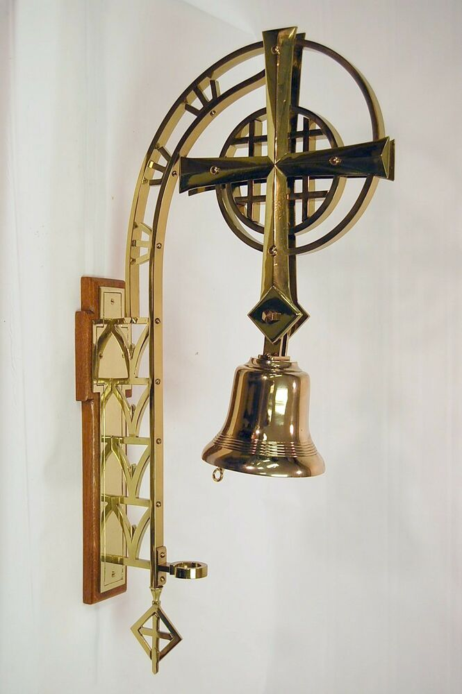 Large Wall Mounted Sanctuary Brass Church Bell Ebay
