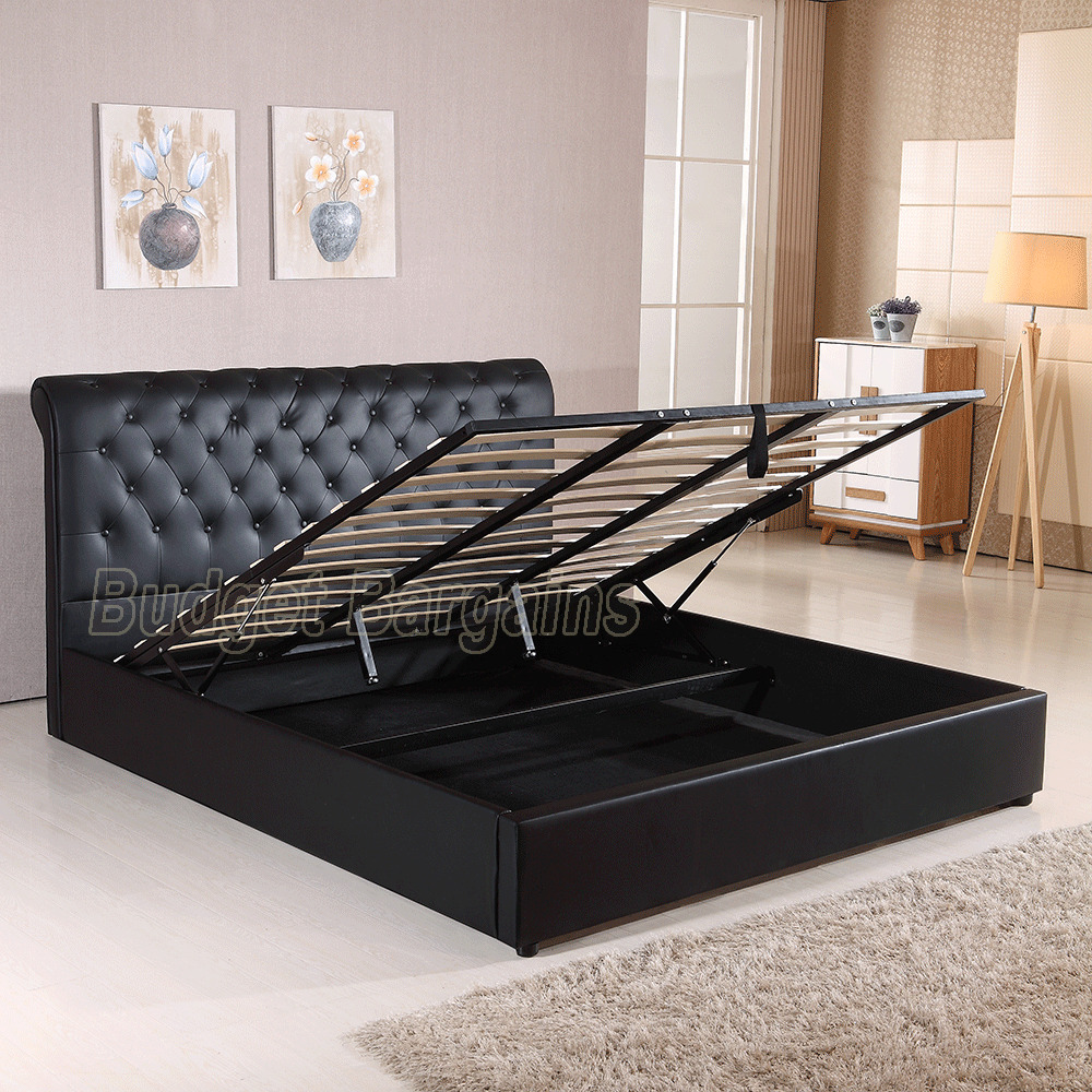 Valencia Gas Lift Pu Leather Bed Frame Queen Or King Size
