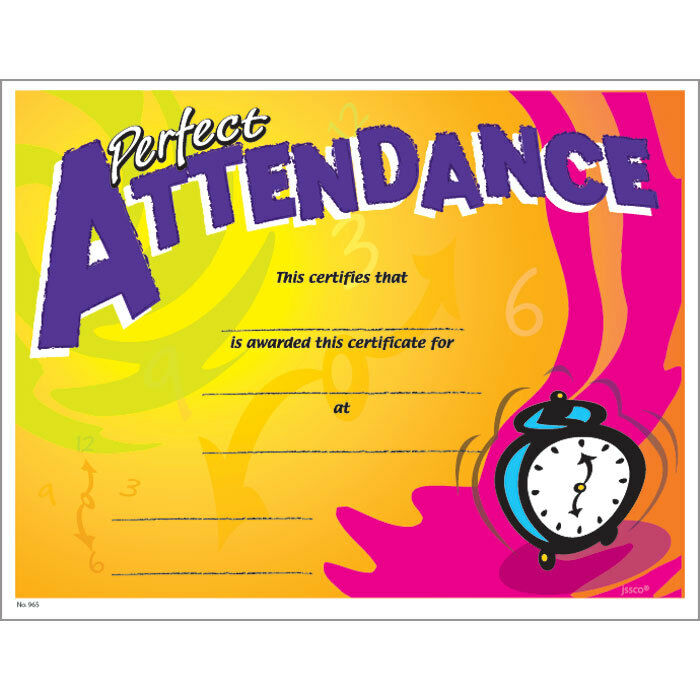 perfect attendance certificate  pack of 15