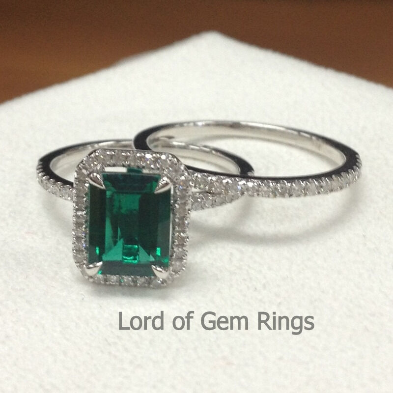 2 ring sets green emerald and diamonds wedding engagement for Emerald green wedding ring