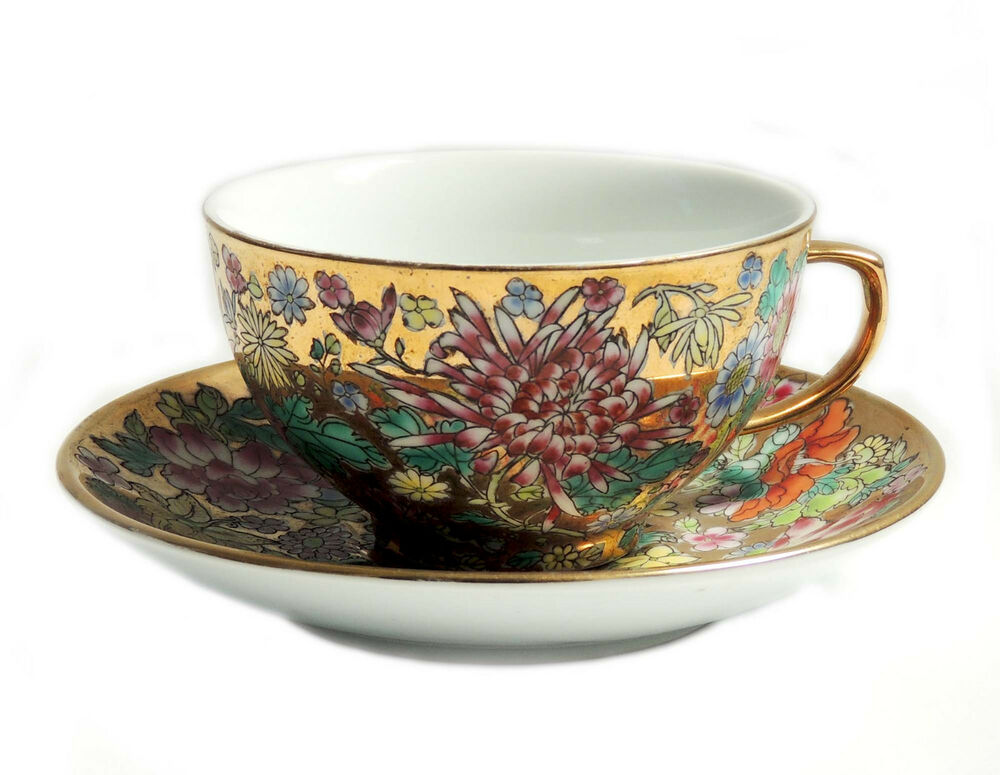 fancy gold with rich floral jingdezhen china tea cup and saucer set pretty ebay. Black Bedroom Furniture Sets. Home Design Ideas
