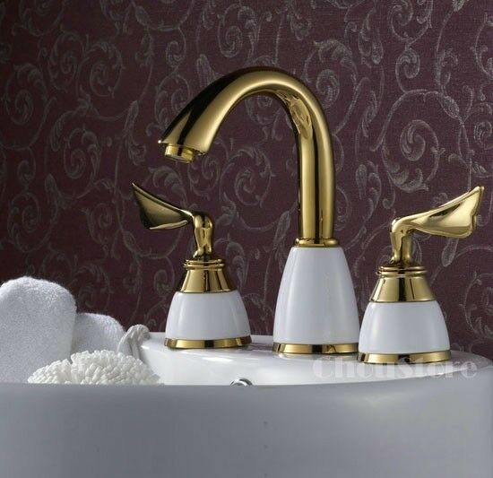 Luxury Polished Brass Gold Bathroom Basin Tap Widespread 3 Hole Faucet Mixer