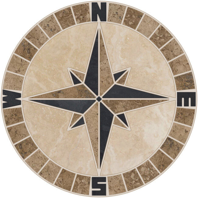 24 Tile Mosaic Medallion Mariners Compass Travertine