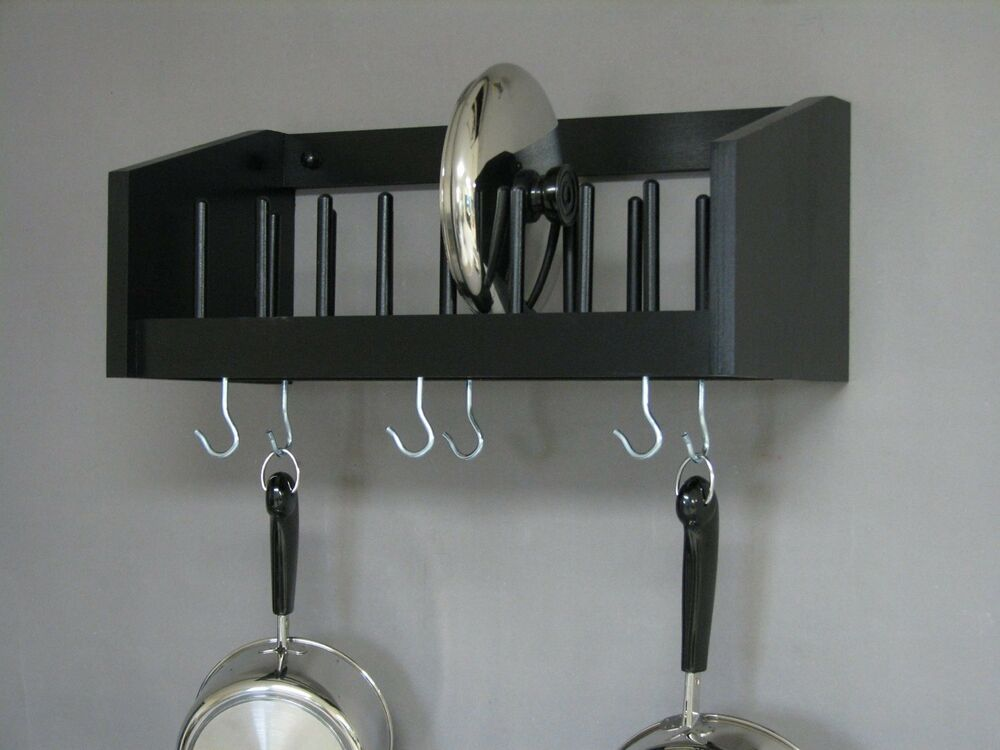 Wall Mounted Rack Wood Pot Pan Utensil Racks Lid Plate