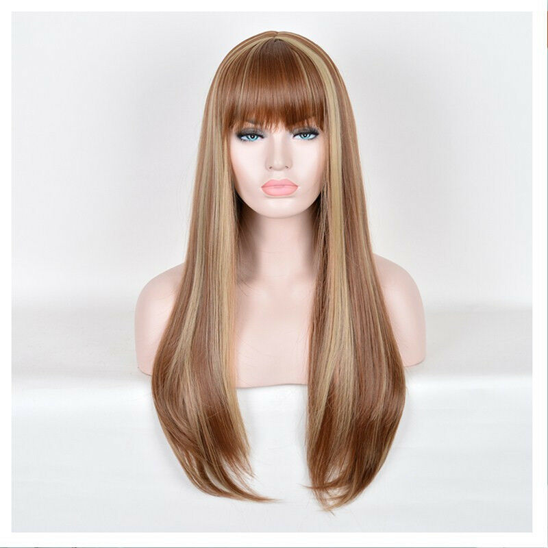 Classic Long Natural Straight Brown Wig Women S Synthetic