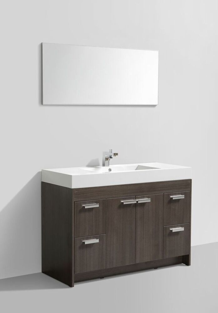 Eviva 48 Quot Lugano Single Sink Modern Bathroom Vanity In Grey Oak Evvn1200 8 48gok 730699417505 Ebay