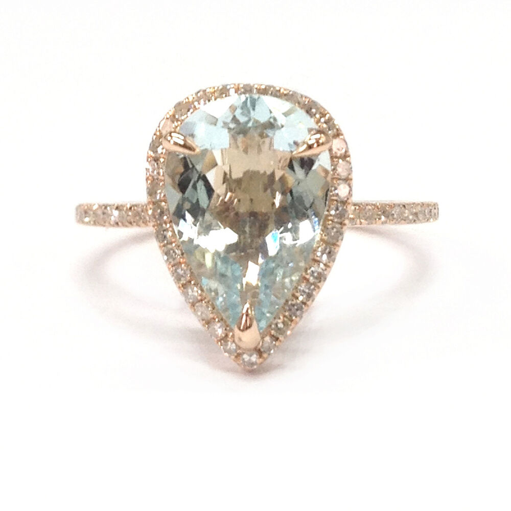 10x12mm pear cut aquamarine engagement diamonds halo ring. Black Bedroom Furniture Sets. Home Design Ideas
