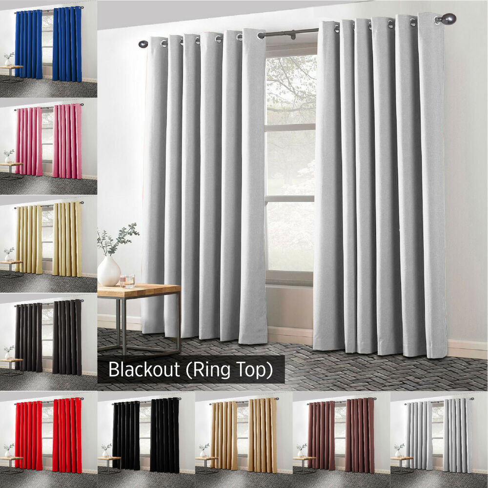 Summer ring top thermal blackout pair curtains bedroom eyelet tape curtains ebay for Best blackout shades for bedroom
