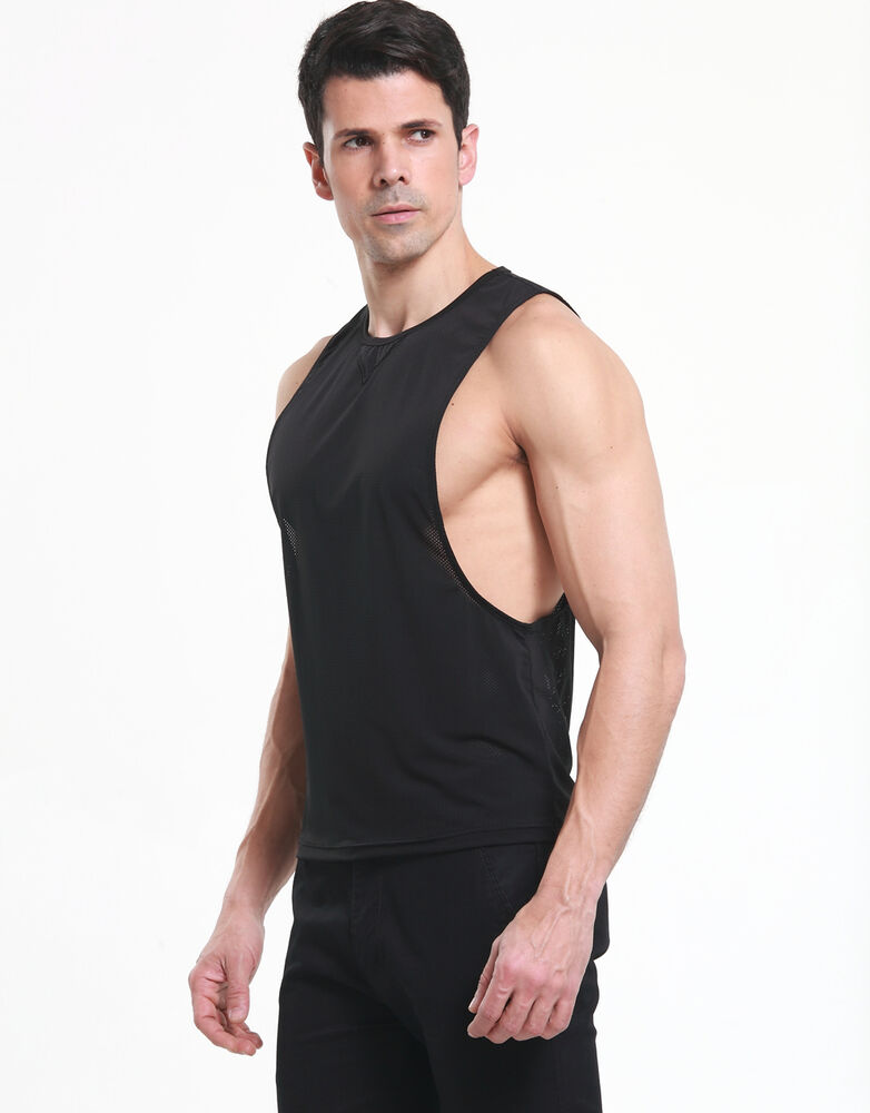 Mens string mesh muscle vest gym training tank top t for Fishing tank top