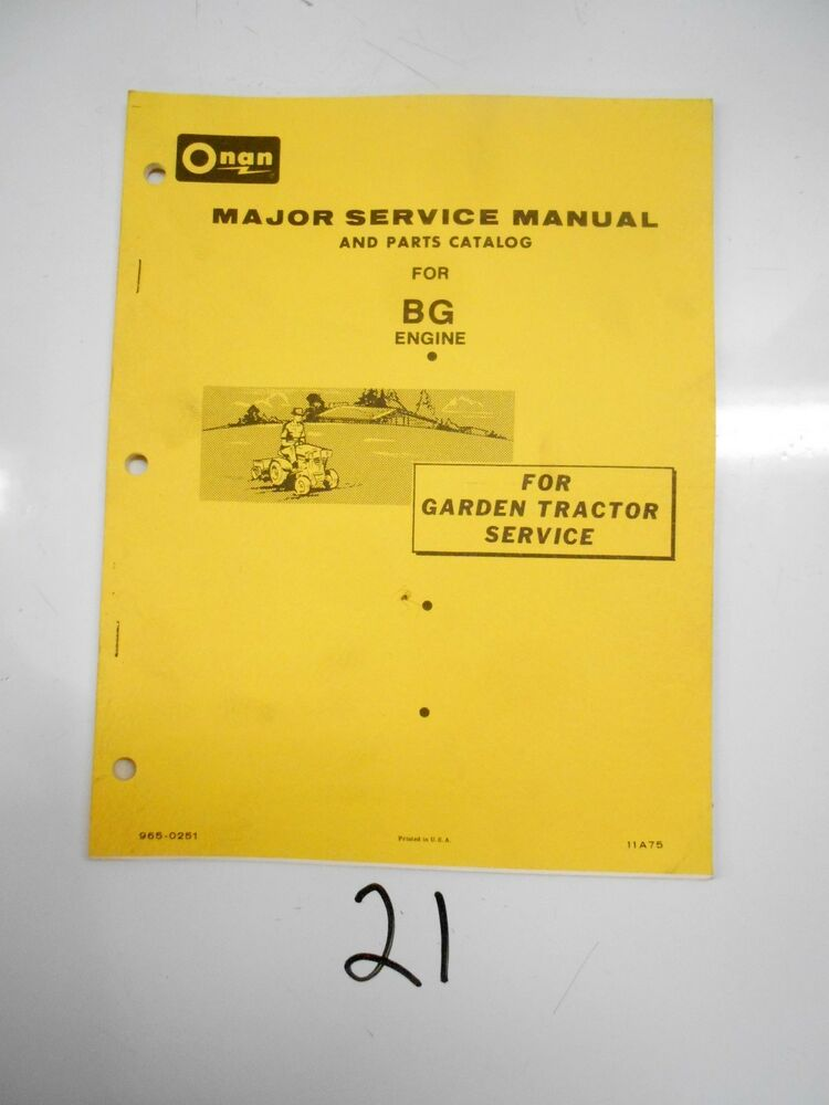 Onan Engine Parts Catalog : Onan bg engine major service parts manual catalog