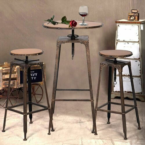 Retro Metal Dining Sets Chairs