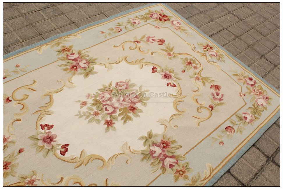 4x6 Light Blue Cream French Aubusson Area Rug Shabby Pink