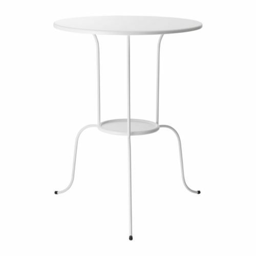 Ikea Lindved Side Table Coffee Tea White Multi Use Metal