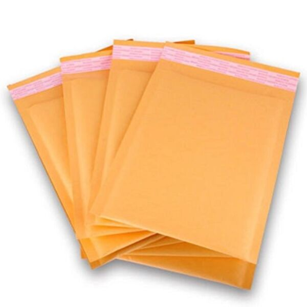 PolycyberUSA  500 pcs #000 Kraft Bubble Envelopes Mailers 4 X 8 (Inner 4x7)