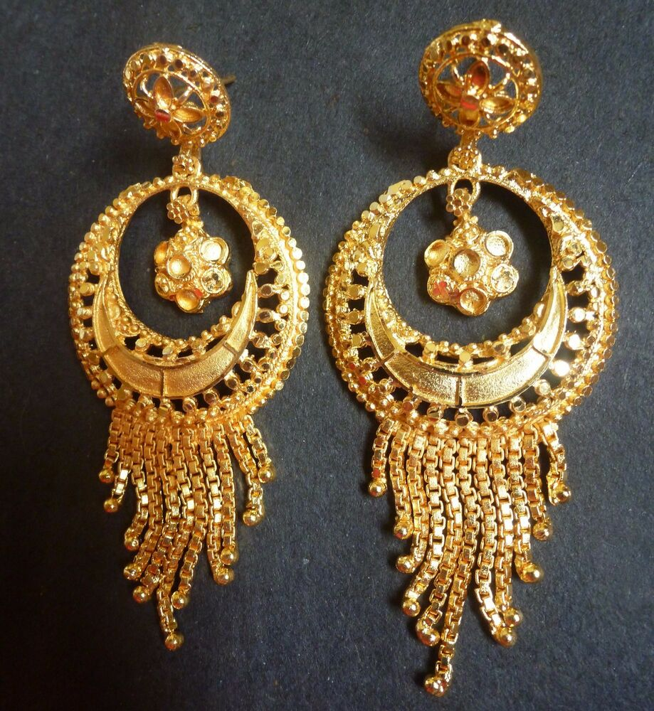 balis earrings indian traditional 18k gold plated chand bali jhumka 577